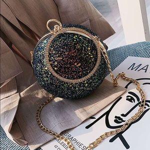 New Black Glitter Ball Clutch/Bag